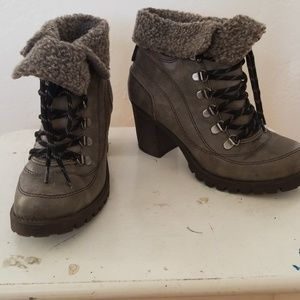 Grey wool topped booties
